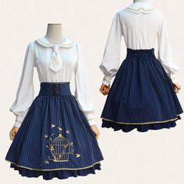vestidos de diablo negro de halloween Rebajas La jaula de pájaros bordado clásico de rayas Lolita SK elástico de la falda de la cintura falda de encaje bonito color azul rojo de vino de las mujeres