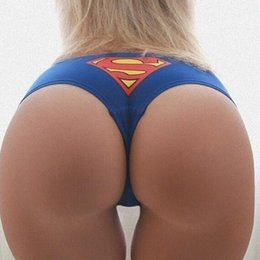 superman prints Coupons - Sexy Superman Underwear Superman Sign Print Briefs Sexy G String Thong Women Sexy Lingerie Woman Fashion Drop Shipping