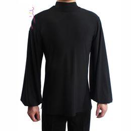 b4d1600c84 Men S Latin Dance Tops Modern Professional Adult Ballroom Rumba Waltz  Practice Clothes High Collar Trumpet Sleeves Shirt DWY1127