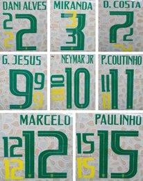 Mundo do adesivo on-line-2018 Brasil impressão verde futebol namesets NEYMAR JR MARCELO estampado jogador lettering fonte copa do mundo Brasil impressionado adesivos de futebol