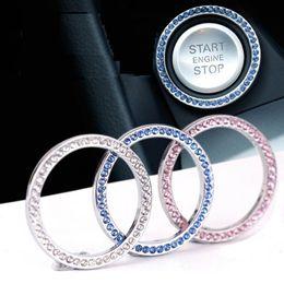 llave kawasaki Rebajas Auto Start Engine Button Bling, Crystal Ring Emblem StickerExquisite Car One Button Start Ring Imitation Diamond Decoration Ring Key