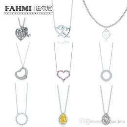 Bracelets commémoratifs en Ligne-FAHMI Charme 925 Sterling Silver Love Twinkle Teardrop Inlay Zircon Soleil Collier Original Bijoux De Mode Femmes Memorial Day TIF