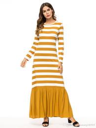 089f02e4fee1 2019 Casual Maxi Dress Stripe Cotton Middle East Abaya Shirt Loose Style  Muslim Robe Moroccan Burka Kimono Kaftan Islamic Arab Dubai 7343