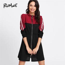 bbcd5d71d6b Romwe Spring Stripe Contrast Sleeve Zip Front Dress Colorblock Stand Collar  Women Dress Long Sleeve Shift Short Dress Y19051001