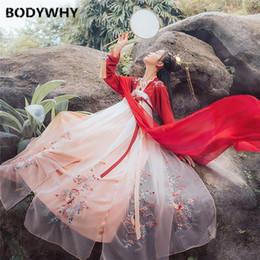 2020 dessins de vêtements traditionnels Hanfu Robe chinoise antique Costume Koi Vêtement traditionnel pour les femmes Fée Style Design quotidien Tenues Dance Festival Hot Vente promotion dessins de vêtements traditionnels