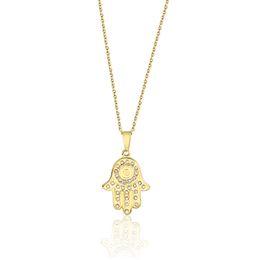 Collana di talismano online-Collana Hamsa in cristallo oro Collana in acciaio inox Hand of Fatima Collane Talismano per Wome