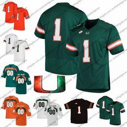 lâminas personalizadas Desconto Personalizado Miami Furacões Futebol Jersey Qualquer Número Nome # 55 Quarterman Shaquille 18 Tate Martell 15 Jarren Williams 9 Brevin 7 Al Blades Jr.