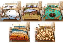 hojas de impresión jirafa Rebajas Juego de cama 3D The Patterns Of Giraffe Juego de funda nórdica de impresión Juego de sábanas realistas, Doble, Completo, Reina, Rey