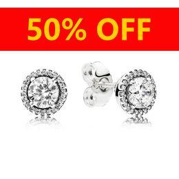 orecchini pandora Sconti Orecchini di design di gioielli di moda femminile di lusso Scatola originale per orecchini in argento 925 con diamante cristallo femminile Pandora