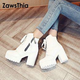 ZawsThia 2019 Winter weiß Plattform Keile klobige High Heels Frau Schuhe Reißverschluss Schnürstiefeletten für Frauen Größe 33-43 Booties von Fabrikanten