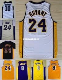 ropa interior negro brillante Rebajas Barato # 24 K B jersey Púrpura Amarillo Blanco Retro Baloncesto Jersey Bordado Logos Ncaa College
