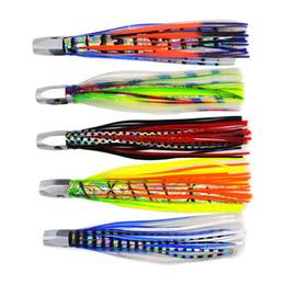 Señuelos de arrastre online-5 colores 8 pulgadas 85 g Big Game trolling señuelos de acero inoxidable cabeza falda Marlin Trolling señuelos de pesca