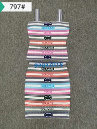 robes haut de gamme Promotion Robe haut de gamme pour fille avec rayures sexy tricotée en tissu multicolore, chemise et soutien-gorge, robe tunique courte et longue