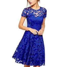 5XL Plus Taille Dress Fashion Femmes Élégant Doux Hallow Out Dentelle Dress Sexy Party Princesse Slim Robes D'été Vestidos Rouge Bleu ? partir de fabricateur