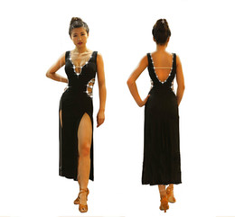 Usura professionale sexy online-High-end Latin Dance Dress Women Abbigliamento professionale Abiti latini Nero Sexy Split Fork Deep V Neck Shiny Competition Abbigliamento