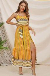 JYM 2019 yeni yaz kadın moda elbise Avrupa ve Amerikan seksi Bohemian şerit baskı ulusal stil halter elbiseler sarı mercan nereden