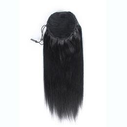 2019 clips africanos gratis Clips de cola de caballo de cola de caballo 100% naturales de Remy brasileños naturales en el cabello humano Extensión de cabello liso 100 g