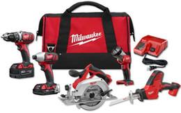 sistemas de soporte de herramientas Rebajas Milwaukee M18 Full Power Tool Kit Combo Set (5 herramientas), taladrado, conducción, corte