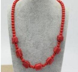 "Cuentas redondas de coral online-ENVÍO GRATIS HNatural Irregular 6mm Granos Redondos Rojo Coral piedras collar 17 """