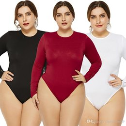 28619100f33e1 2019 new fashion plus size round collar Bodysuit Women o Collar Body Tops  Sexy Bodysuits Long Sleeve Jumpsuit Romper Overalls XL-6XL