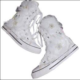 ff468476 2019 zapatos coreanos de las señoras Nueva versión coreana de alta ayuda  pequeñas flores blancas dulces
