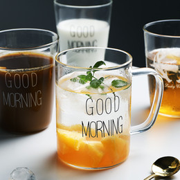 2019 copas de vino sin tallo al por mayor Good morning glass 400ml Coffee Mug Black White Good Morning Milk Juice Cup Transparent Glass Beer Beer With Handle Home