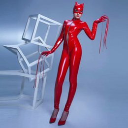 Roter spandex spielanzug online-GLAMCARE Kostüme Cosplay Catsuit PVC Body Nachtclub Wetlook Catsuit Stripper Strampler Outfit Rot