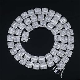 Wholesale Il nuovo modo di lusso Hip Oro Oro Bianco Mens Hop ha ghiacciato fuori complete rettangolo CZ Cubic zircone collana Bling Rapper regalo catene dei monili per gli uomini
