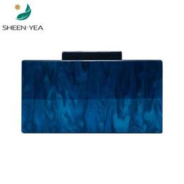 Saco de noite azul vintage on-line-Nova carteira elegante mulheres messenger bag pearly elegante acrílico saco de noite Do vintage sólida marble blue ombro cadeias bolsa de embreagem