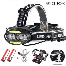 rechargeable headlamp red Promo Codes - Headlight 30000 Lumen headlamp 4* T6 +2*COB+2*Red LED Head Lamp Flashlight Torch Lanterna with batteries charger