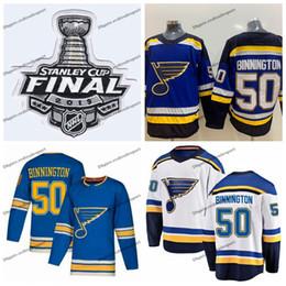 camisas azul marino Rebajas 2019 Stanley Cup Final Alterno Azul claro Jodan Binnington St. Louis Blues Hockey Jerseys 50 Binnington Navy Blue Stitched Shirts