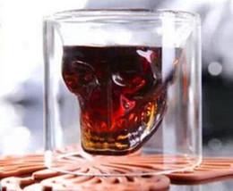 bicchieri caldi di whisky Sconti HOT 25/75/150 / 250ML tazza del vino Vetro Teschio shot vetri alcool trasparente Drinkware Vetro di birra Whisky decorazione di Halloween creativo del partito