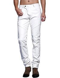 2019 calças de couro de desempenho masculino Idyll Men `s Slim Fit Partido Desempenho Biker Faux Leather Jeans Pants calças de couro de desempenho masculino barato