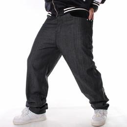 Мода хип-хоп джинсы мужские черные свободные длинные брюки мужчины хип-хоп одежда скейтборд брючный человек ADDS 46 размер Мужские низы cheap add long от Поставщики добавить долго