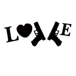 22 8CM Love Heart Guns Window Vinyl Wall Decal Vinyl Car Sticker Black Silver CA 1293