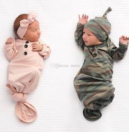 Manta de marca online-Marca lindo recién nacido bebé bebé camuflaje envoltura envoltura envoltura sacos de dormir manta conjunto bebé niño niña ropa de dormir bolsas