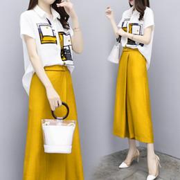 2019 футболки с длинными рукавами Рубашка с цветочным принтом Широкие штаны из двух частей Летний повседневный модный ансамбль Femme Deux Pieces Элегантные костюмы для женщин дешево футболки с длинными рукавами