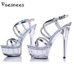 640c5dd2963 Platform Sandals Summer Style 2015 Catwalk Shows Flash Piece of steel Pipe  Shoes Sexy Ultra High Heels 15cm Transparent Sandals discount super high  platform ...