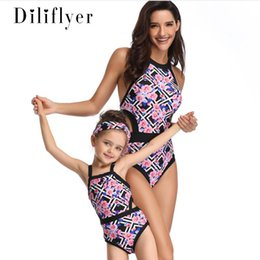 411db4bbb176c 2019 Summer Girls floral leaves printed swimsuits mommy and me one-piece  swimming fashion kids backless beach holiday swimwear F3535