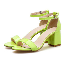 Женские неоновые каблуки онлайн-2019 Fashion Women 6.5cm High Heels Female Neon Yellow Prom Pumps Lady  Design Block Low Heels Sexy Platform Shoes YBLY-38