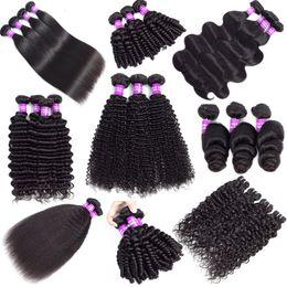 Fasci di capelli umani brasiliani Capelli vergini Estensioni dei capelli umani Remy non trasformate al 100% da