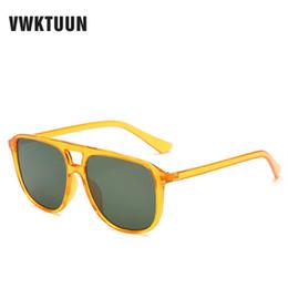 2020 occhiali da sole arancioni sportivi VWKTUUN Occhiali da sole dell'annata degli uomini oversize Doppia Travi Sunglass quadrato arancione retrò occhiali da sole di colore UV400 Eyewear Sport Sunglass occhiali da sole arancioni sportivi economici