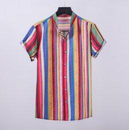 le camicette colorate superiori Sconti Camicia da uomo Camicia a maniche corte stampata etnica casual Colletto alla coreana Camicia allentata a righe colorate Top Camicie Camisa masculina