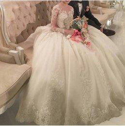 vestidos de casamento da bola da cauda longa Desconto 2019 novo vestido de noiva vestido de baile mangas compridas vestidos de casamento cauda real luxo vestido de noiva peru renda apliques