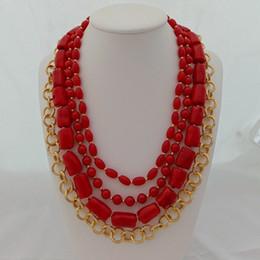 Collana a catena placcata in oro placcato rosso 4 fili da donna 19