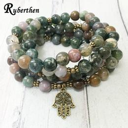 2019 pulseras de lujo Ruberthen New Design Fancy Beads 108 Mala pulsera Indian Agates Hamsa Charm Necklace Trendy Yoga Balance pulsera para las mujeres rebajas pulseras de lujo