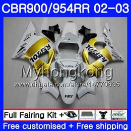 Honda cbr gold on-line-Corpo Para HONDA CBR900RR Repsol ouro branco CBR 954 RR CBR900 RR CBR954 RR 280HM.11 CBR 900RR CBR954RR 02 03 CBR 954RR 2002 2003 kit de Carenagens