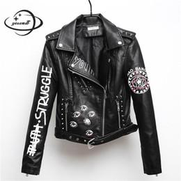 YAUAMDB женщины искусственной кожи куртка 2018 весна осень pu S-XL женский пальто хип-хоп одежда дамы печати мотоцикл верхняя одежда y111 от