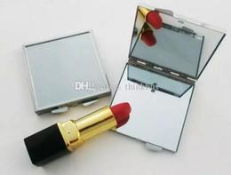 lunette carrée Promotion Miroir de maquillage vide en métal carré compact avec lunette argent Livraison gratuite bb355-362 2018012206
