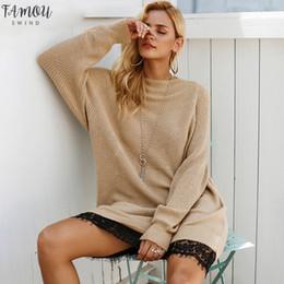 Suéteres de encaje dobladillo online-Hem vestido del suéter de las mujeres de empalme de encaje o cuello flojo ocasional del suéter del invierno del otoño vestidos largos de las mujeres hechas punto